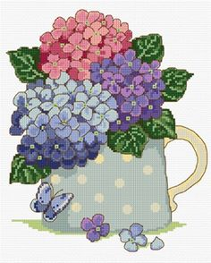 Hydrangeas in cross stitch