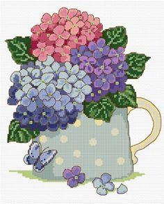 Hydrangeas in cross stitch