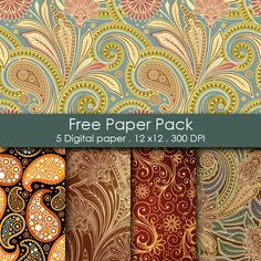 For the paisley nut in me.  Free Printable Paper Pack