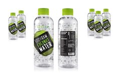 Package and Label Design for Coconut Water. Fresh and transparent look portray the funky healthy beverage brand.