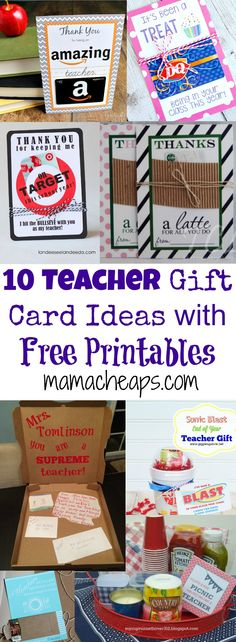 10 Teacher Gift Card Ideas with Free Printables