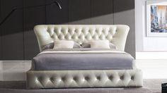 Gemini Gray Leather Platform Bed | Zuri Furniture