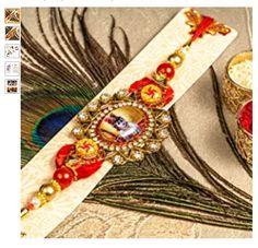 Whopper Presents Simple and Elegant Multi Diamond Rakhi with Rudraksha for Brother Well Packed Rakhee Thread Bracelet for Bhai Bhaiya Indian Rakhi Raksha Bandhan Festival