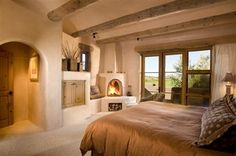 Sante Fe rustic bedroom Dream Bedroom, Home Bedroom, Bedroom Ideas, Master Bedroom, Home Design Decor, House Design, Home Decor, Interior Ideas, Interior Design