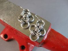 New to AthenasArmoury on Etsy: Japanese Cross Chain Maille Earrings - Bright Aluminum (15.00 USD)