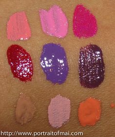 Dose of Colors lipgloss swatches-  Top Row: Cotton Candy, Attitude, Wild Child Middle Row: Burning Love, Purple Fusion, Toxic Bottom Row: Undressed, Petals, Sunshine Kisses