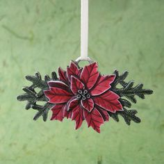 Poinsettia Pewter Christmas Ornament! www.AnEvergreenChristmas.com