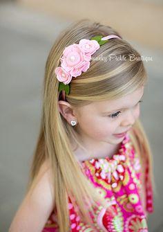 Розовый Войлок Повязка - Войлок головная повязка - Шерсть Войлок цветы повязка для девочек - Пасха повязка - фотография Prop