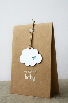 DIY Packaging: Such sweetness! This fluffy cloud simply hung on a cord with staples speaks volumes to welcome your little one! White embossing powder adds a bit of sparkle to this handmade baby card. Handgemachtes Baby, Karten Diy, New Baby Cards, New Baby Gifts, Gift Packaging, Packaging Ideas, Simple Packaging, Jewelry Packaging, Diy Cards