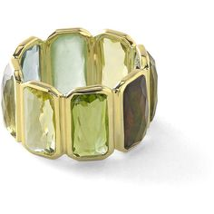 Ippolita 18k Rock Candy Fancy Rectangle Lollipop Ring in Mountain (€3.380) ❤ liked on Polyvore featuring jewelry, rings, gold, hand crafted jewelry, green ring, ippolita, green jewelry and ippolita jewelry