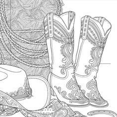 cowboy boots coloring page stuff to make pinterest cowboy