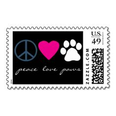 Peace Love Paws Postage Stamp. Make your own business card with this great design. All you need is to add your info to this template. Click the image to try it out!