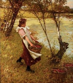 In the Orchards, Haylands, Graffham, Henry H. La Thangue. English Realist Painter (1859-1929)