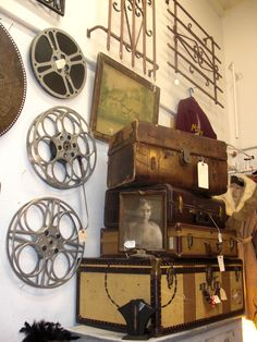 1930's film reels and luggage