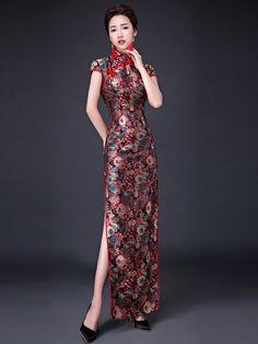 Bloom Printed Ankle Length Qipao / Cheongsam Prom Dress