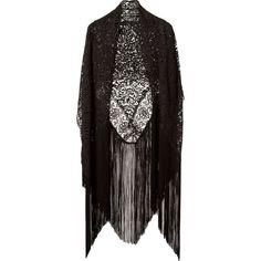 Martha Medeiros fringe lace shawl ($1,410) ❤ liked on Polyvore featuring outerwear, jackets, kimono, cardigans, black, fringe kimono, lace shawl, lace kimono, lacy shawl and lace fringe kimono
