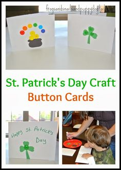 St. Patrick's Day Craft -Button Cards on FSPDT