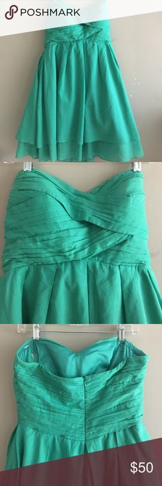 Gown, Sz 12 Adorable green gown. Sz 12. Pretty cotton over silk. Perfect for Homecoming, prom, an afternoon wedding. Jessica Simpson Dresses Strapless