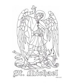 St Michael Coloring Page Would Be Great To Use As Silhouette For Window Transparency