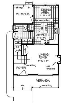 First Floor Plan of Craftsman   Victorian   House Plan 98856