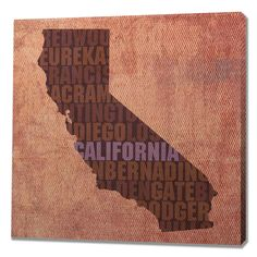 California Textual Art On Wrapped Canvas
