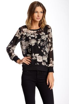 Long Sleeve Blouse with Lace Inset