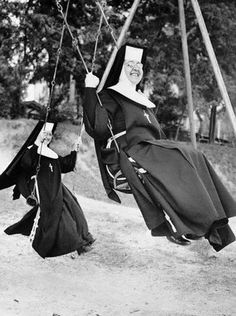 Now, we never witnessed nuns on the swings at St. John the Baptist Catholic School in Jordan, but we liked to imagine they were human, and also had fun.