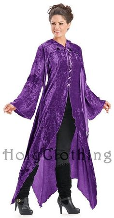 Purple Fuchsia Gwendolyn Enchanted Flowing Velvet Lace-Up Hooded Maxi Jacket - Purple - Shop by Color - Dresses