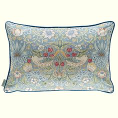 Strawberry Thief Cushion A delightful placement envelope cushion featuring the iconic Strawberry Thief design printed with subtle textures to retain the look of the original hand-printed cloth. It is shown in slate grey and vellum with vibrant blue piping.
