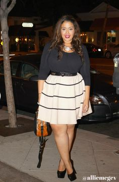 Dress: City Chic  Top: New York and Company Belt: Michael Kors Bag: Badgley Mishka Shoes: Steve Madden