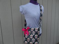 Black Crossbody Bag With Sugar Skulls by OMGDesigns on Etsy