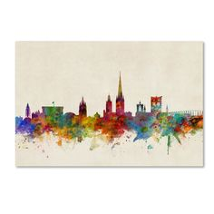 Norwich England Skyline by Michael Tompsett Graphic Art on Wrapped Canvas
