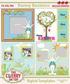 Bunny Business Digital Scrapbooking Templates by KreativeDesignStudio on Etsy