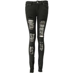 Choies Black Extreme Ripped Skinny Jeans ($32) ❤ liked on ...