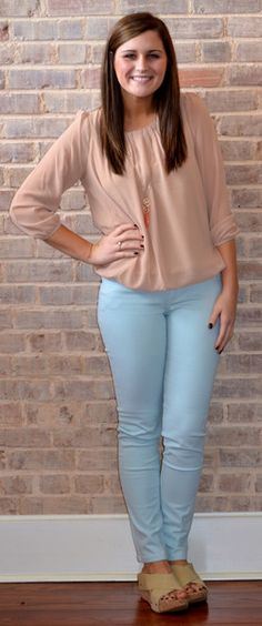 Tan chic top, baby blue skinny jeans, wedges, and peach long necklace.  Super cute, comfortable, and casual summer outfit for work, school and play.  Spring fashion by Studio 3:19