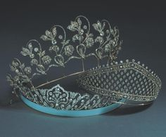 A group of Fabergé diamond tiaras in the collection of the Duke and Duchess of Westminster, circa 1910's. The bottom tiara has a base of blue moiré enamel that imitates a silk ribbon