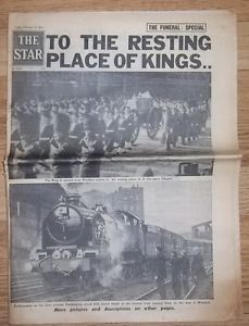THE STAR newspaper funeral special king george VI friday feb 15 from 1952