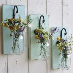 NEW…Rustic Farmhouse… Wood Wall Decor…Individual Hanging Mason Jars…Your… - Home Professional Decoration Easy Home Decor, Cheap Home Decor, Wood Crafts, Diy And Crafts, Rustic Crafts, Pallet Crafts, Decor Crafts, Hanging Mason Jars, Wood Wall Decor