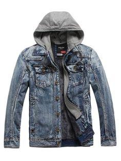 Tbdress.com offers high quality Lapel Winter Outdoor Thicken Warm Slim Casual Men's Denim Jacket Men's Jackets unit price of $ 45.49. #MensJacket