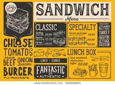 Sandwich restaurant menu. Vector food flyer for bar and cafe. Design template with vintage hand-drawn illustrations. Food Menu Design, Food Truck Design, Cafe Design, Sandwich Menu, Pizza Menu, Bakery Menu, Menu Restaurant, Restaurant Design, Steak Menu