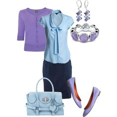 """Powder blue and lavender"" by amy-koo on Polyvore"