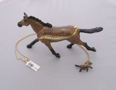 New Trinket Box Gift Painted Crystals Adorable Brown Horse Animal