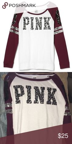 Victoria's Secret PINK shirt Burgundy glitter Victoria's Secret long sleeved shirt. XS but fits like a small, close to medium. Perfect color! Worn once. PINK Victoria's Secret Tops Tees - Long Sleeve