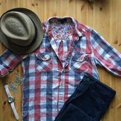 Red, blue, and white plaid button-down flannel Plaid flannel button-down with a loose fit. Soft, summery colors. Buttons all intact. Full-length sleeves that can be buttoned at cuffs or half length. Forever 21 Tops Button Down Shirts