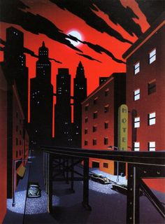 Gotham's red night sky, for The New Batman Adventures by Michele Graybeal and David McBride. This was a background for the episode - Sins of the Father