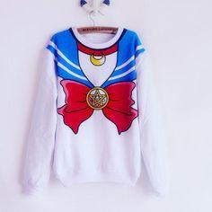 Nuevo 2017 Mujeres camisetas de los Hoodies camisa Harajuku Sailor Moon kawaii lindo de imitación superior de rol traje de marinero Mujeres Sudadera Con Capucha