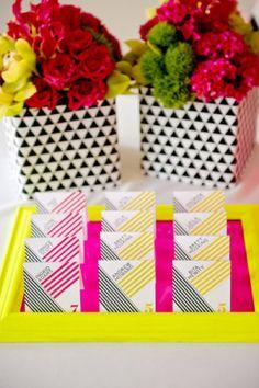 Yellow Escort Cards | Design: Ham & Pea Design & Paperie via Style Me Pretty | Photo: Lee Bird Photography #neon #yellow #wedding