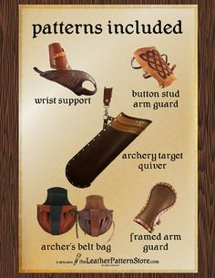 This leathercraft pattern pack includes even more leather patterns, designed the archer in mind. Make all of your archery accessories from one pattern pack!  All of the following 5 leather patterns are included in Volume 2, Issue 4:  ARCHERY TARGET QUIVER - Archery target quiver hangs from your belt, and makes it easy to draw the arrows out for shooting. And its so easy to make too! Since this quiver is put together entirely with rivets, it uses just 2 tools! And it looks good too!  Lots of ... Leather Quiver, Leather Working Patterns, Archery Accessories, Arm Guard, Traditional Archery, Leather Pattern, Leather Projects, Hobbies And Crafts, Card Making