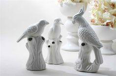творческий белая керамическая фигурка птицы попугай на стволе для домов украшения
