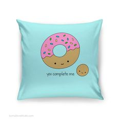 Funny Donut Pillow Cover I Love You Pun Quote Gift for Girlfriend Boyfriend Wife…